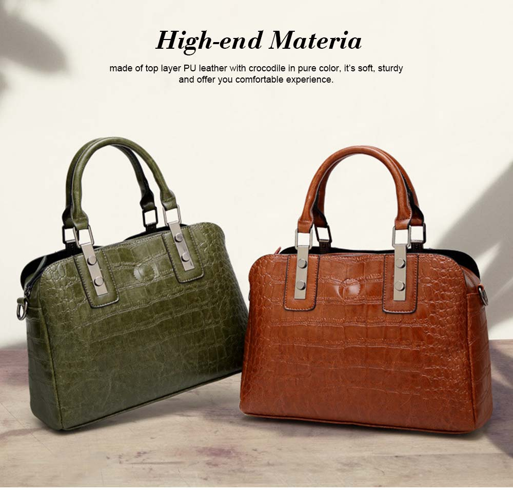 Women's PU Leather Crocodile Handbag With Magnetic Suction Button, Fashion Simple Tote With Large Capacity 1
