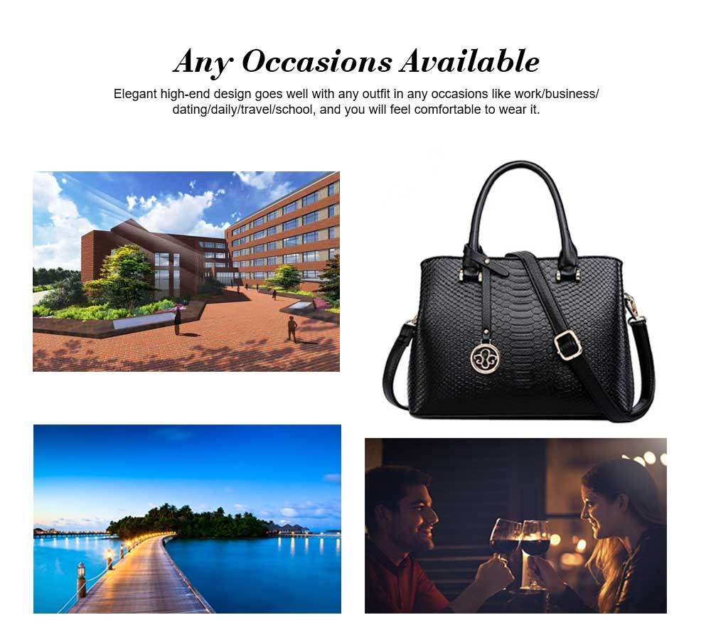 Leather Crocodile Pattern Fashion Handbag With Firm Hooks, Scratchproof Waterproof Messenger Bag for Middle-aged Mother 5