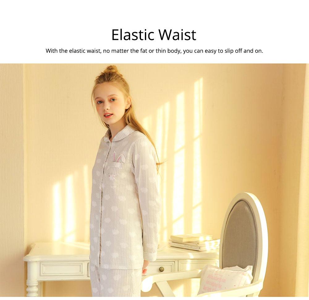 Sleepwear Fashionable Pajamas Set for Girl, Women Soft Long Sleeves Cotton Nightgown 3