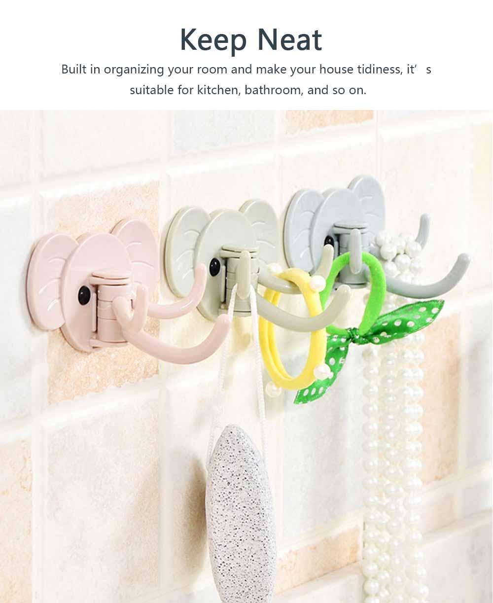 Cute Elephant Wall Sticky Hooks, Punch-Free, Waterproof Kitchen Bathroom Door Wall Hooks 2