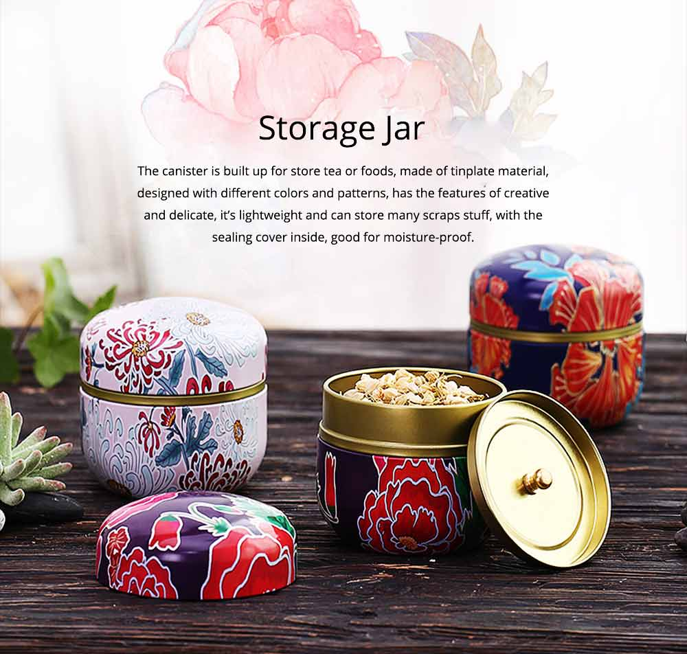 Round Caddy Sealed Storage Jar, Creative for Household Moisture-proof Portable Iron Canister 0