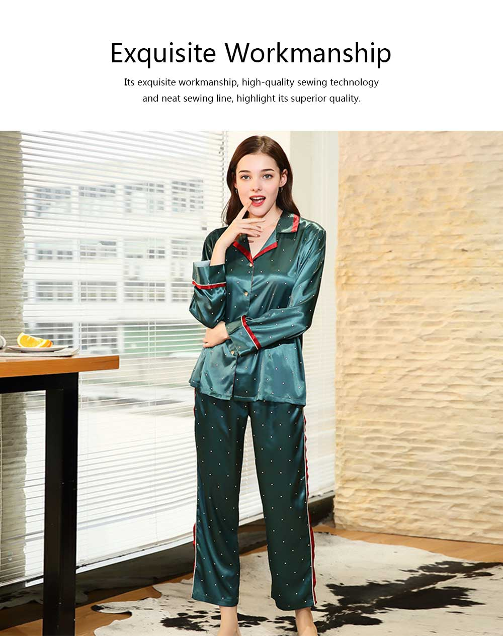 Breathable Soft Imitation Silk Fabric Pajamas, Women's Long-sleeve Trousers Printed Tracksuit 2019 2