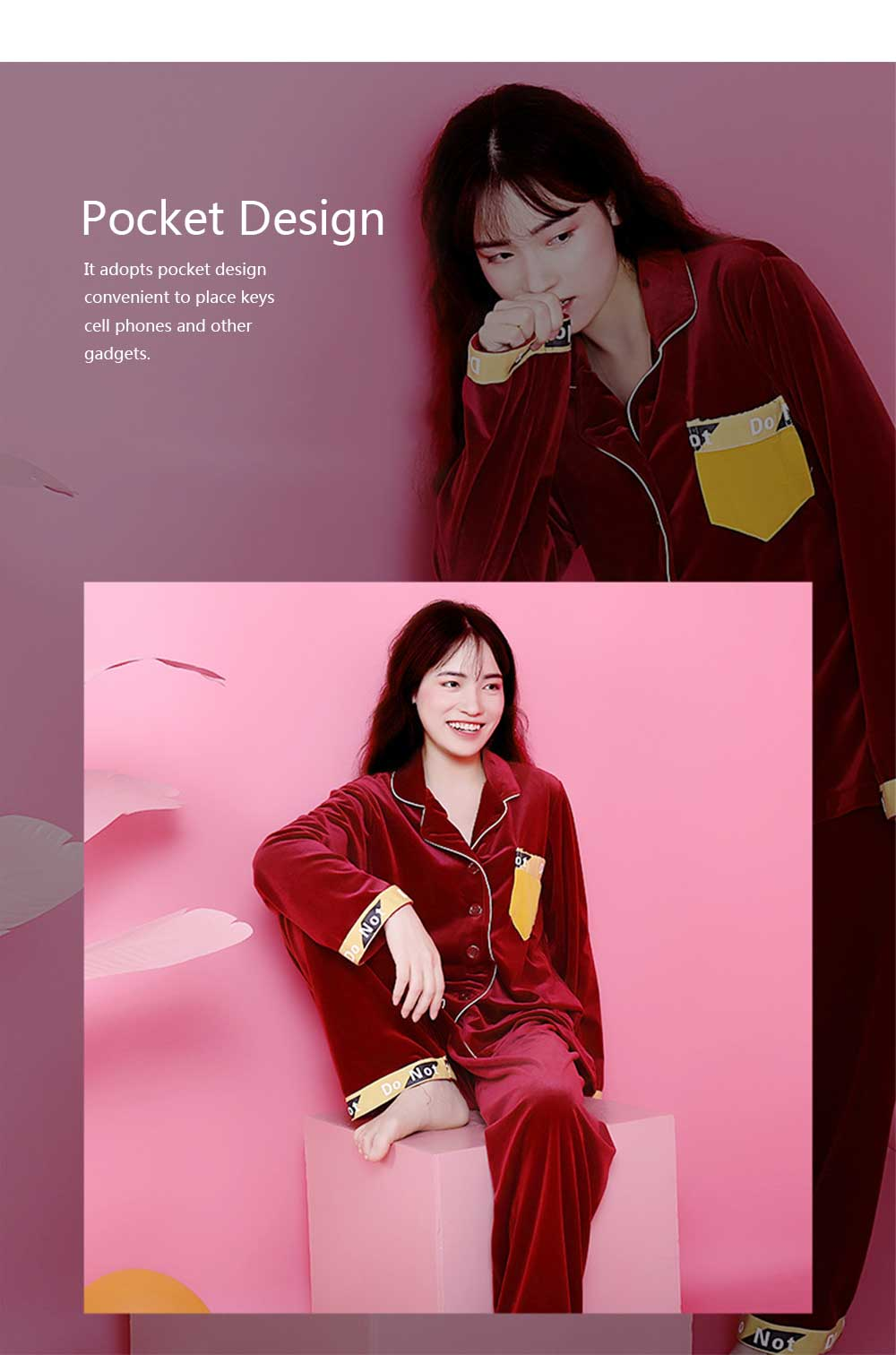 Women's Classic Lapel Long-sleeve Tracksuit, Soft Velvet Fabric Pajamas, with Interesting Printing Pattern 6