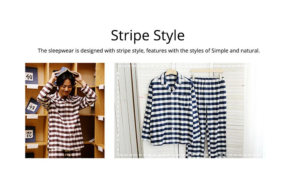 Stripe Nightgown Comfortable Pajamas Set for Men Long Sleeves Cotton Sleepwear Autumn Winter 2