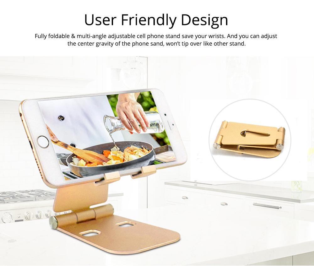 Aluminum Alloy Desktop Phone Holder, Portable Double Adjustable Folding Mobile Phone Tablet Bracket for Universal Compatibility 1