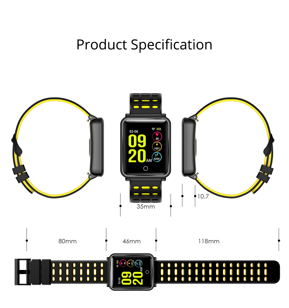 Smart Color Screen Watch for Heart Rate and Blood Pressure with IP68 Waterproof and Anti-loss Multi-movement Bracelet 12