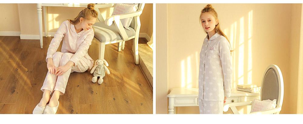 Sleepwear Fashionable Pajamas Set for Girl, Women Soft Long Sleeves Cotton Nightgown 9