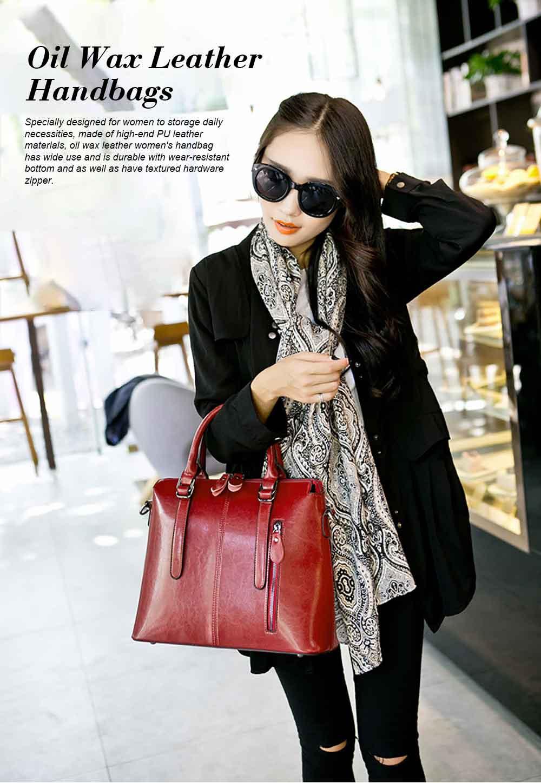 Oil Wax Leather Handbags With Adjustable Shoulder Strap, Fashion Ladies Portable Slung Shoulder Bag 0