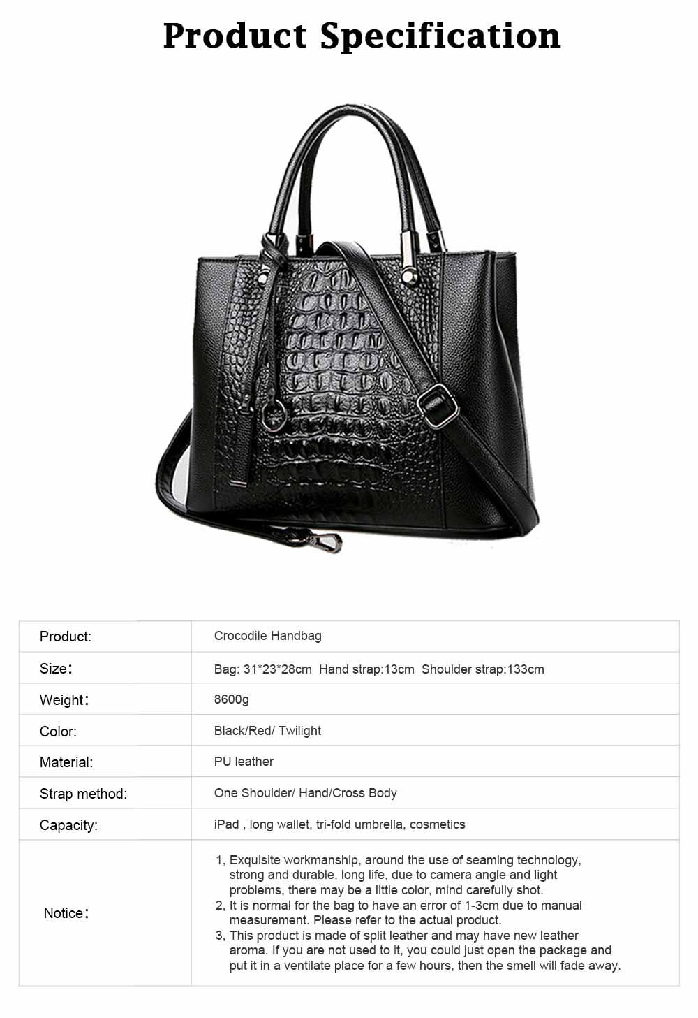 Leather Crocodile Pattern Fashion Handbag with Firm Hooks, Scratchproof Waterproof Messenger Bag for Middle-aged Mother 7