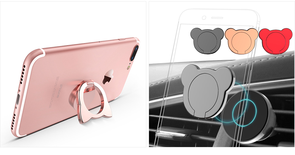 Fox Cartoon Drop-resistant Mobile Phone Ring Buckle, 360 Degree Magnetic Metal Phone Bracket 8