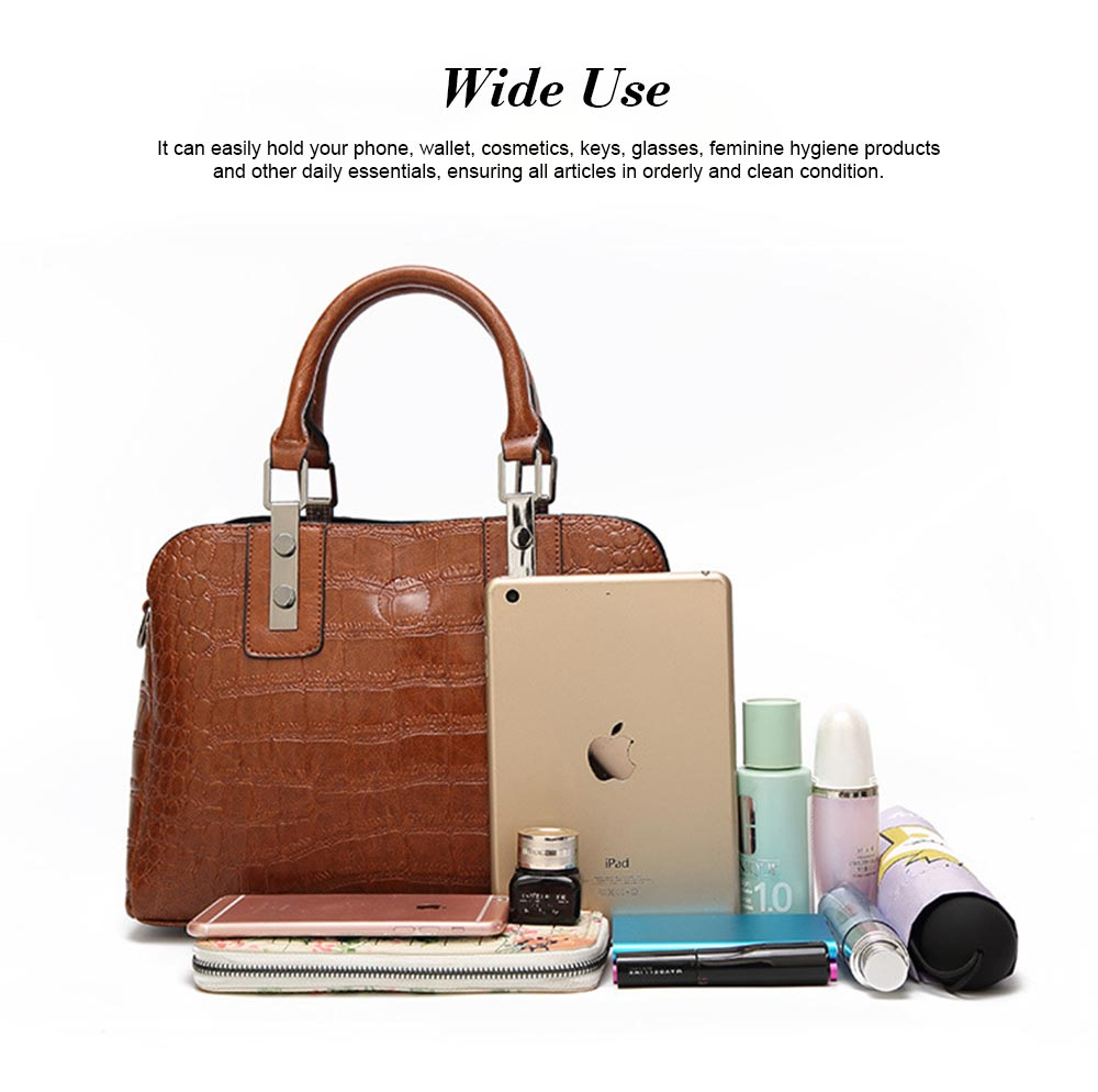 Women's PU Leather Crocodile Handbag With Magnetic Suction Button, Fashion Simple Tote With Large Capacity 11