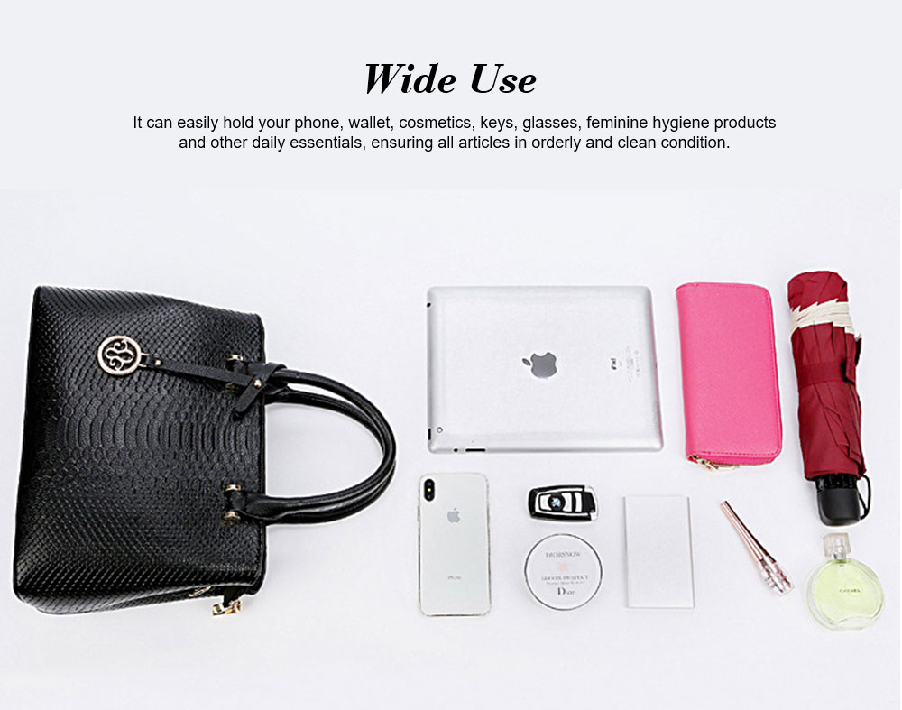 Leather Crocodile Pattern Fashion Handbag With Firm Hooks, Scratchproof Waterproof Messenger Bag for Middle-aged Mother 4
