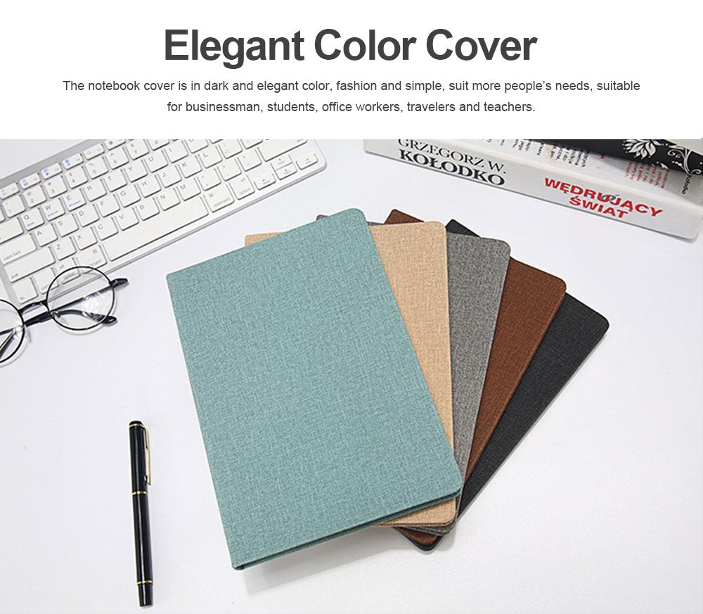 Cloth Texture Leather Notebook Gel Pen Set, Journal Diary Uncoated Woodfree Paper Schedule Planner Jotter Gift Pack 3