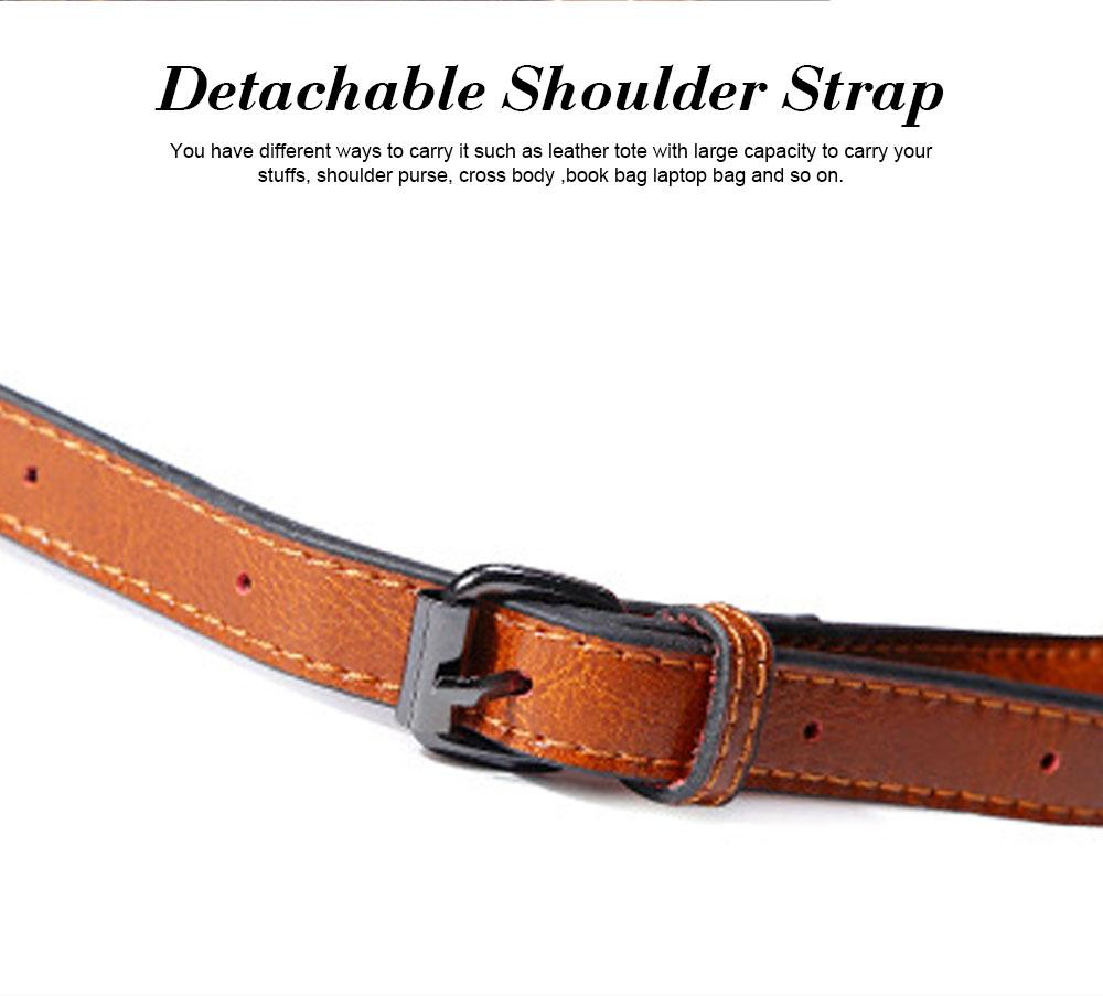 Oil Wax PU Leather Handbags With Detachable Shoulder Strap, Fashion Ladies Portable Slung Shoulder Bag 5