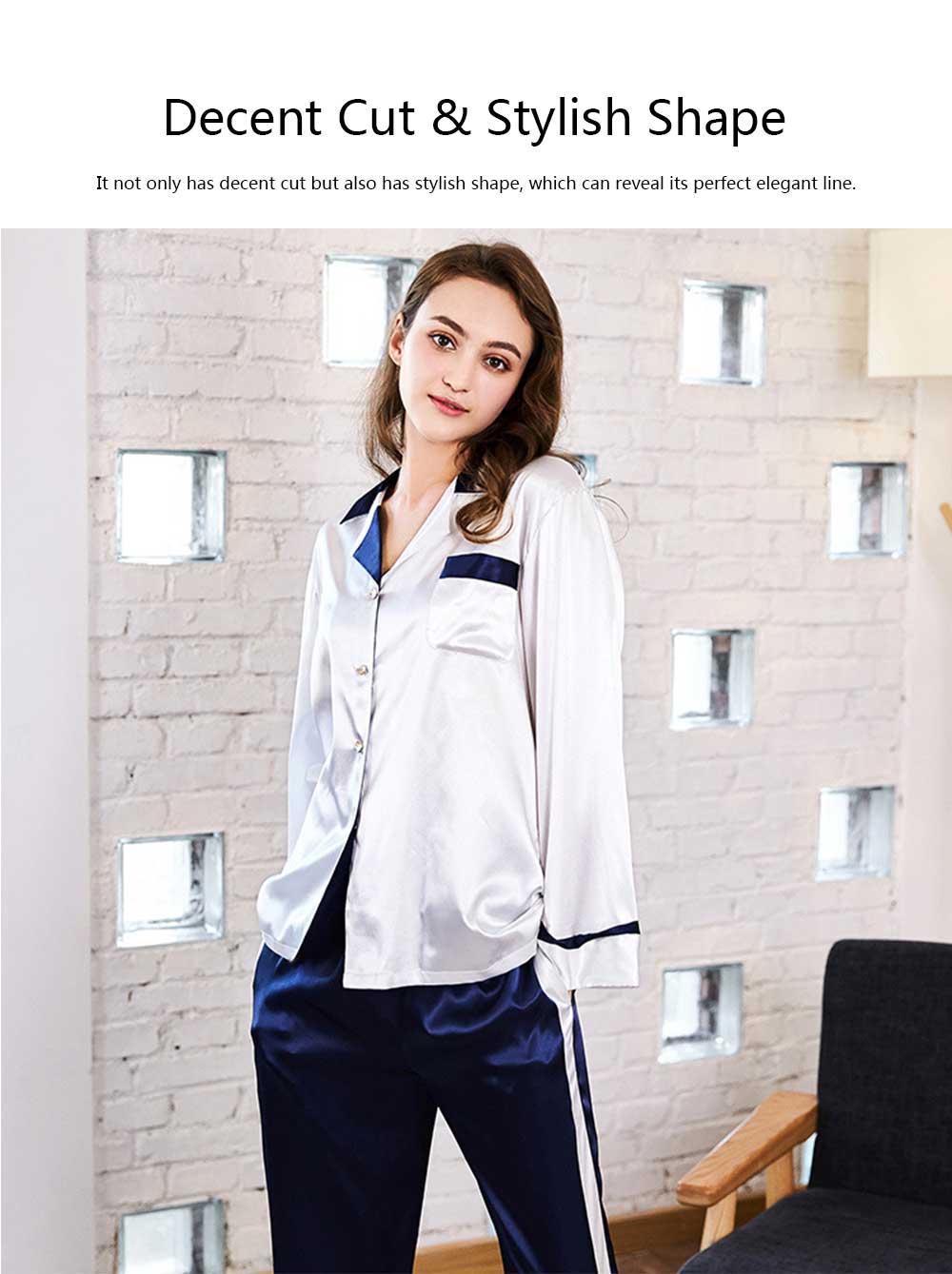 Classic Lapel Women's Long Sleeve Pajama 2 PCS Set, Imitation Silk Fabric Contrast Splicing Tracksuit 11
