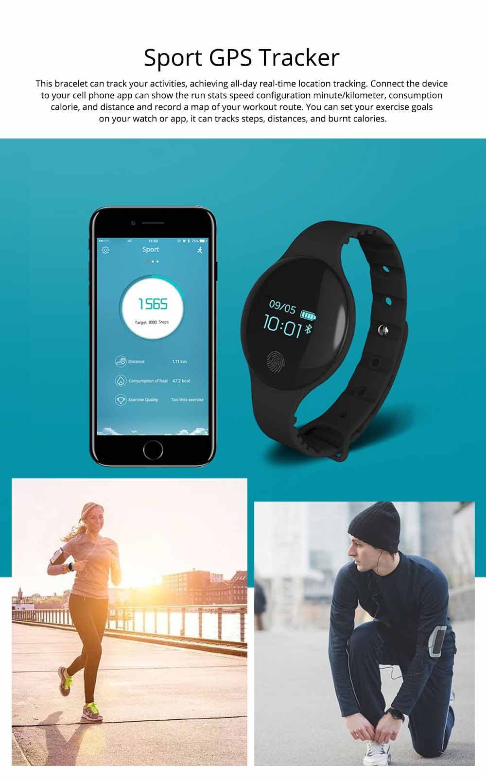 Sports Smart Watch Smart Silicone Bracelet with Touch Screen Bluetooth Pedometer for Children's Gift 5