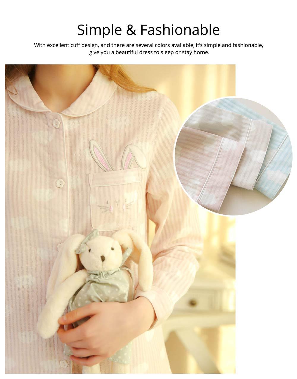 Sleepwear Fashionable Pajamas Set for Girl, Women Soft Long Sleeves Cotton Nightgown 5