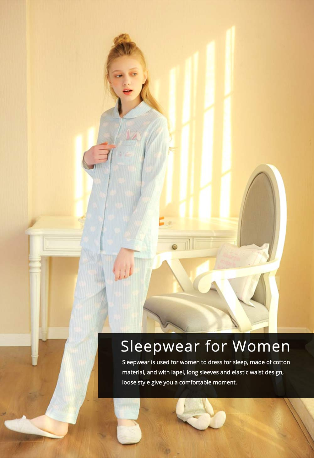 Sleepwear Fashionable Pajamas Set for Girl, Women Soft Long Sleeves Cotton Nightgown 0