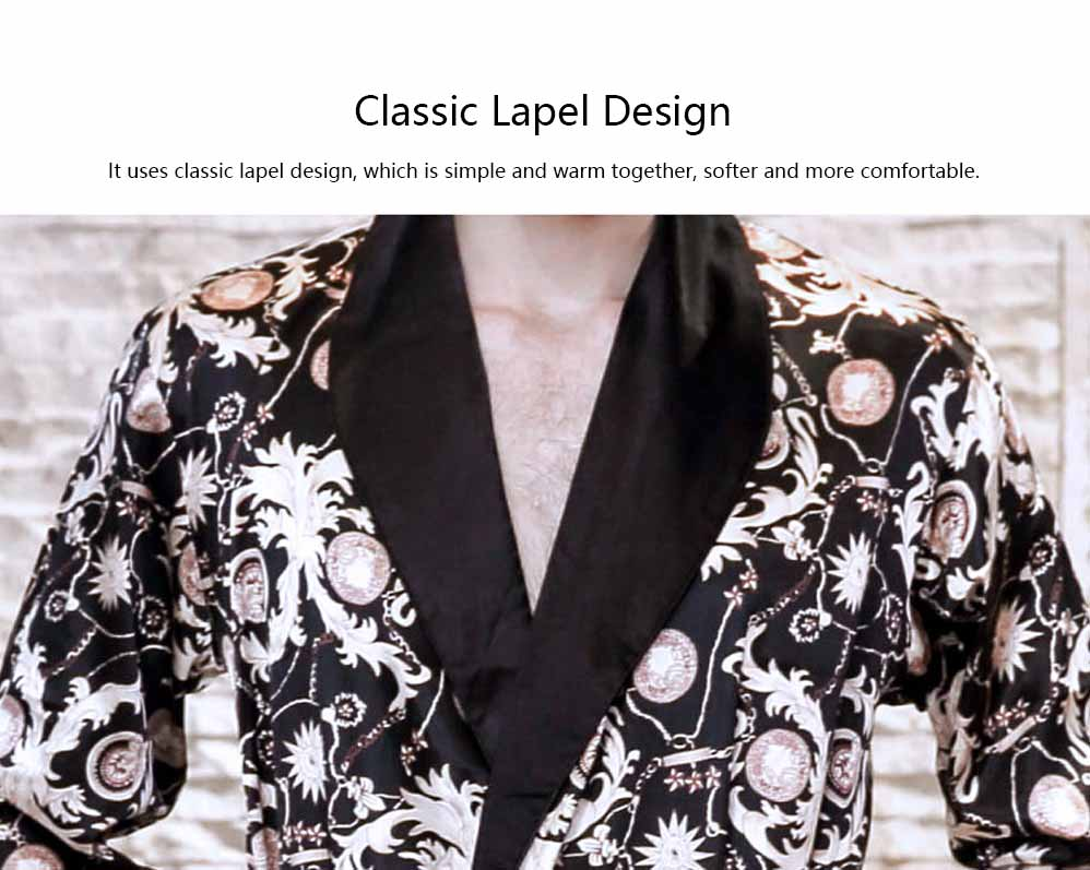 Men's Classic Lapel Shorts and Long Sleeve Pajamas, Thin Imitation Silk Fabric Classic Lapel Printed Robe 11