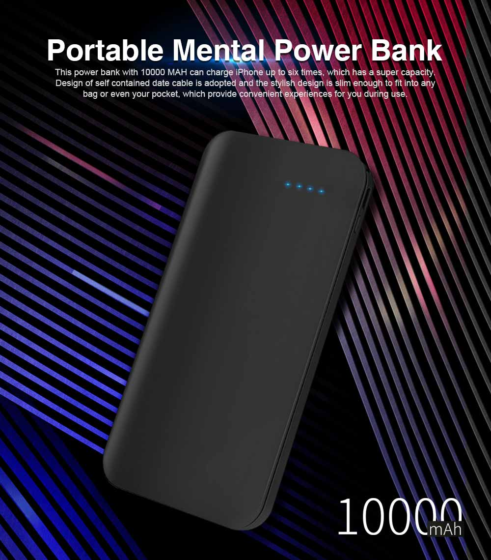 Portable Mental Power Bank, Ultra Thin 10000MAH Power Core with Retractable Data Cable 0