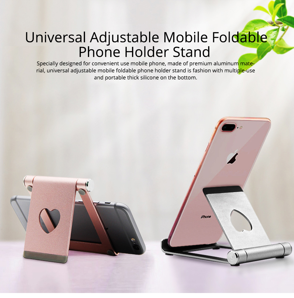Aluminum Alloy Desktop Phone Holder, Universal Adjustable Foldable Mobile Phone Holder Stand for Live 0