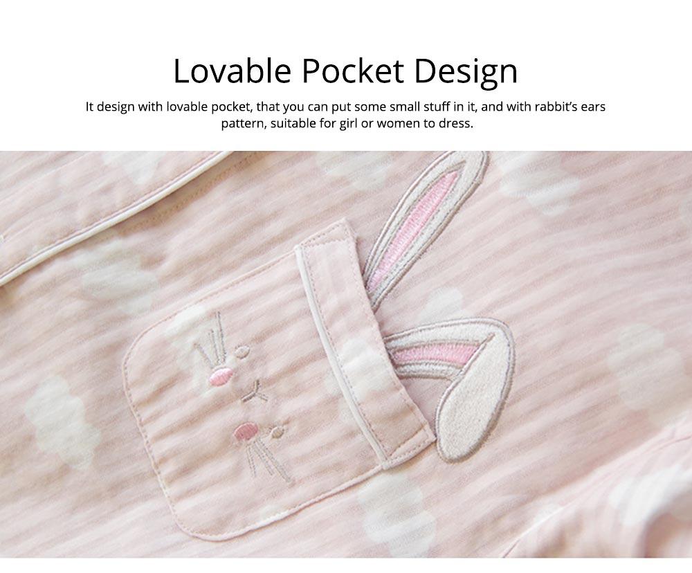 Sleepwear Fashionable Pajamas Set for Girl, Women Soft Long Sleeves Cotton Nightgown 6