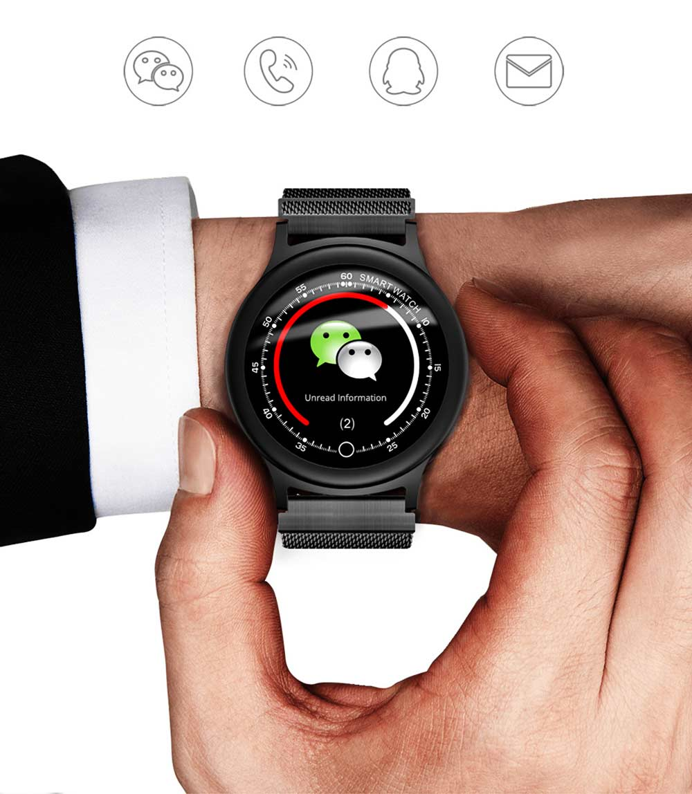 Smart Bracelet with Circle Color Screen for Heart Rate and Sleep Monitoring, Waterproof Business Bracelet 4