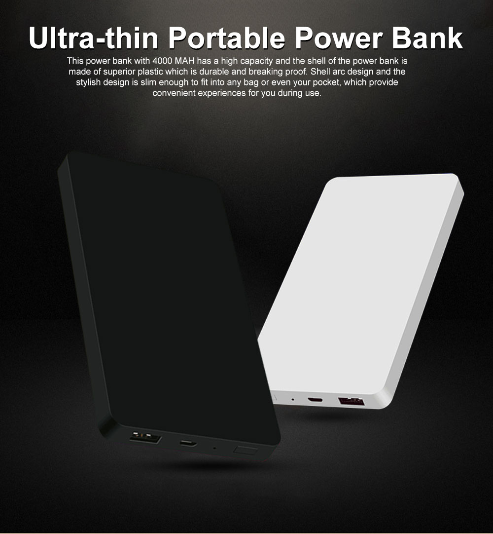 4000mAh Ultra-thin Portable Power Bank, Smart Charging Battery Charger Power Bank Case 0