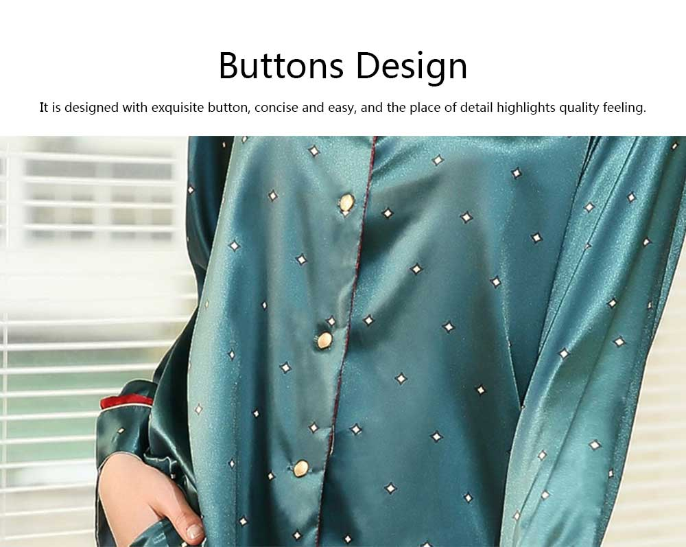 Breathable Soft Imitation Silk Fabric Pajamas, Women's Long-sleeve Trousers Printed Tracksuit 2019 5