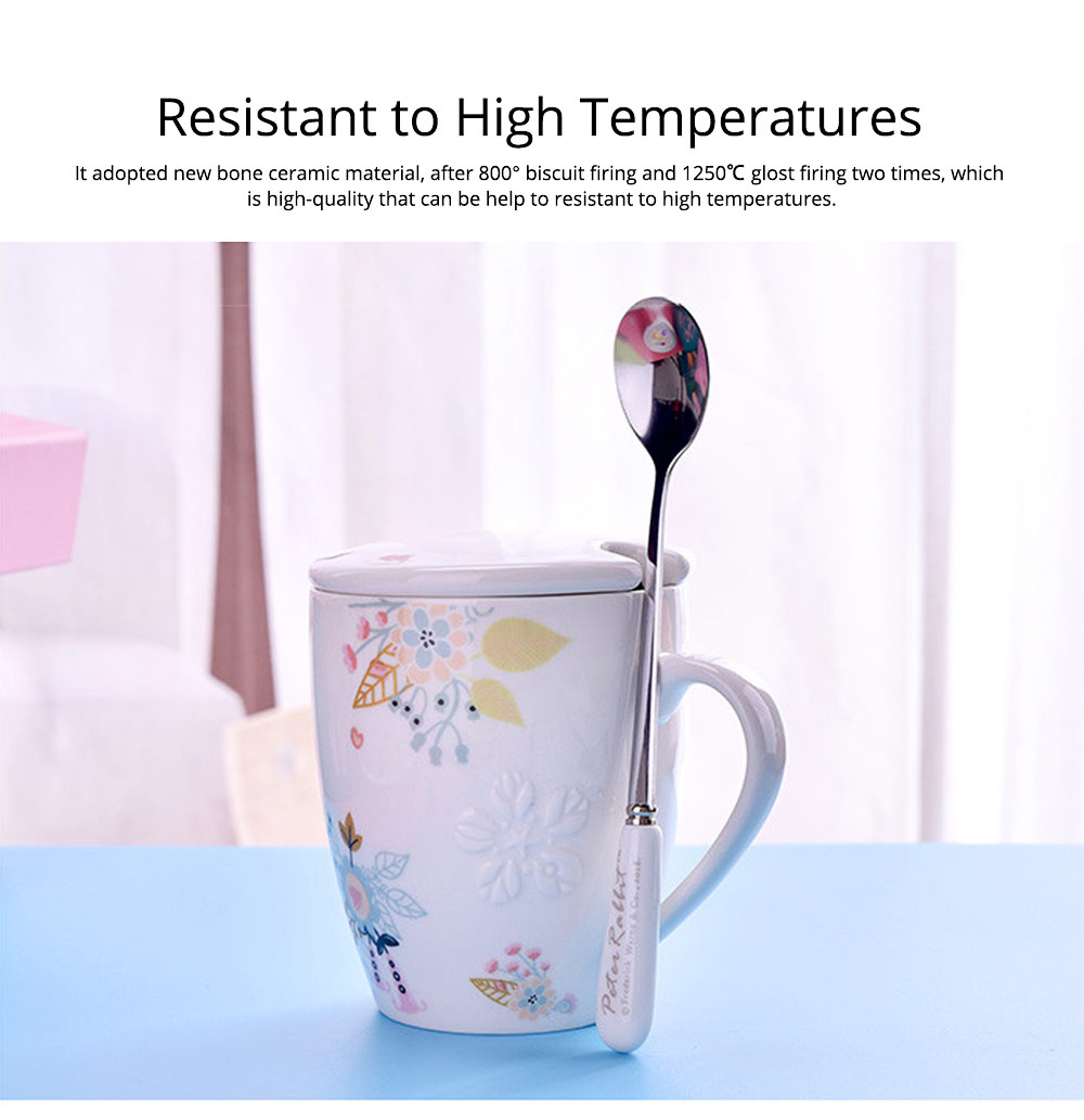Ceramic Mug Embossed Painting with Cover Spoon for Office Water Coffee Porcelain Cup 1