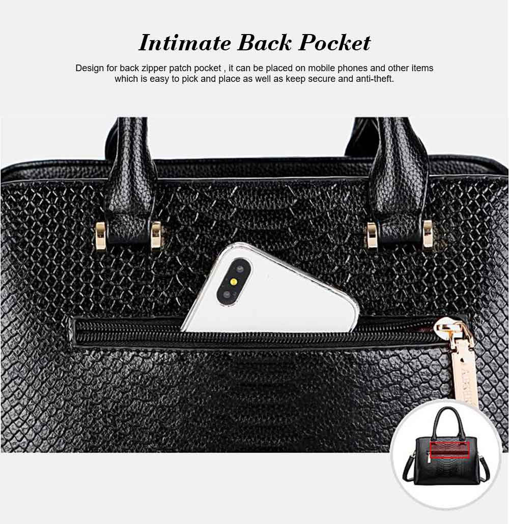 Leather Crocodile Pattern Fashion Handbag With Firm Hooks, Scratchproof Waterproof Messenger Bag for Middle-aged Mother 13