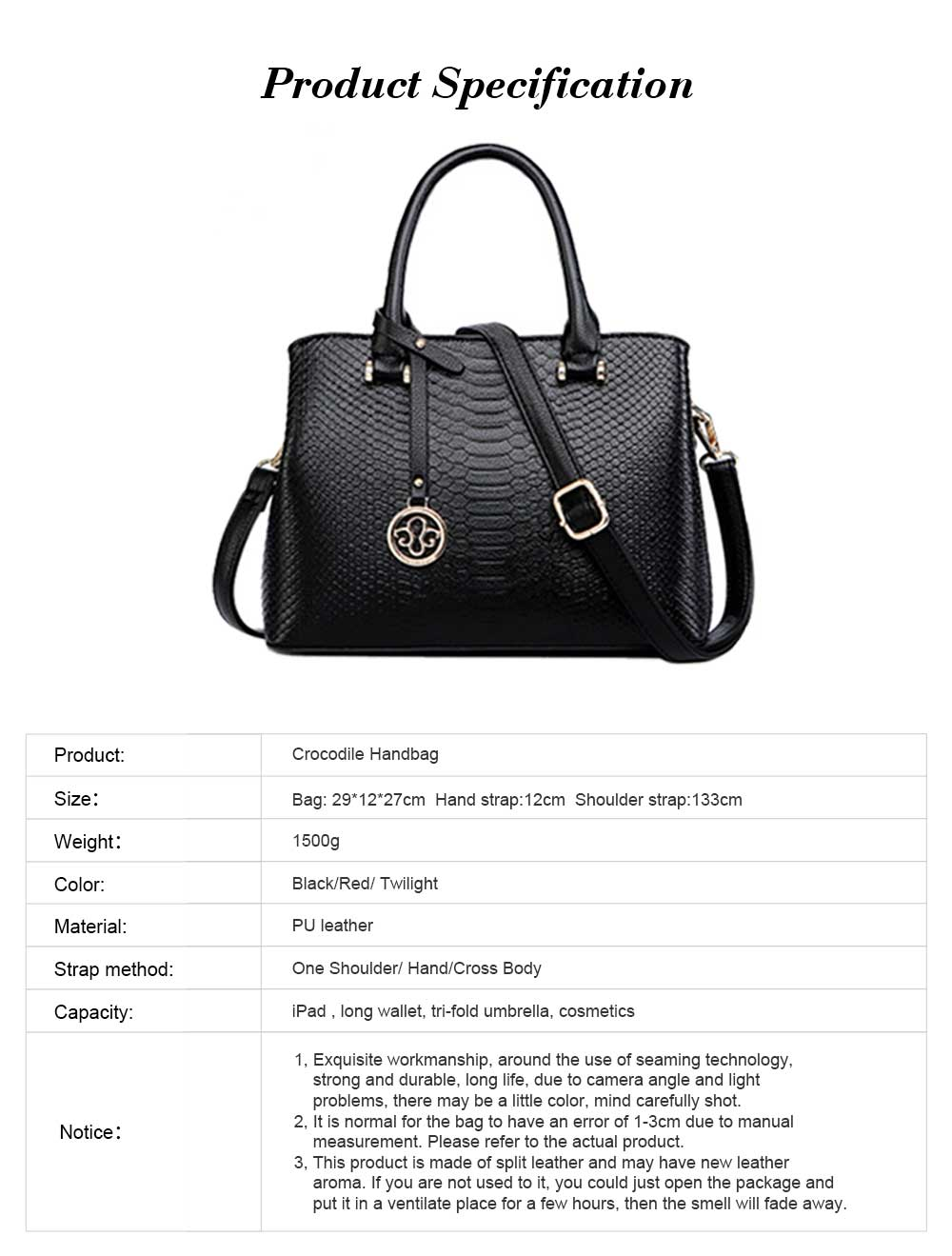 Leather Crocodile Pattern Fashion Handbag With Firm Hooks, Scratchproof Waterproof Messenger Bag for Middle-aged Mother 14