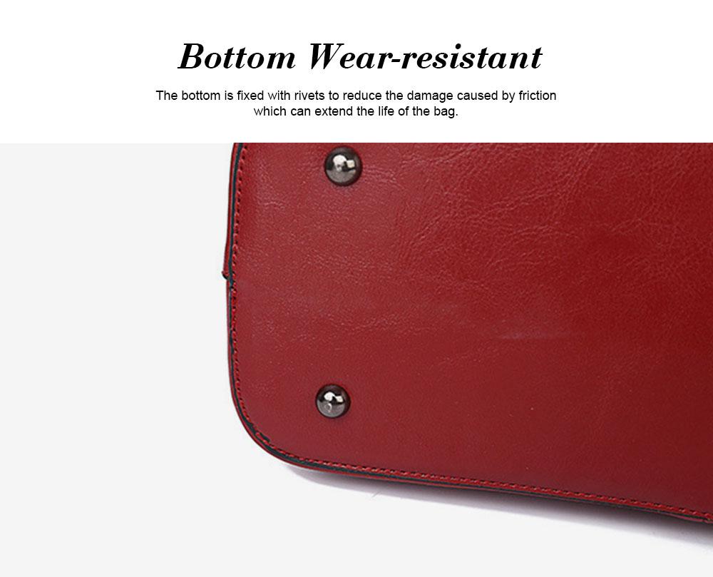 Oil Wax Leather Handbags With Adjustable Shoulder Strap, Fashion Ladies Portable Slung Shoulder Bag 2