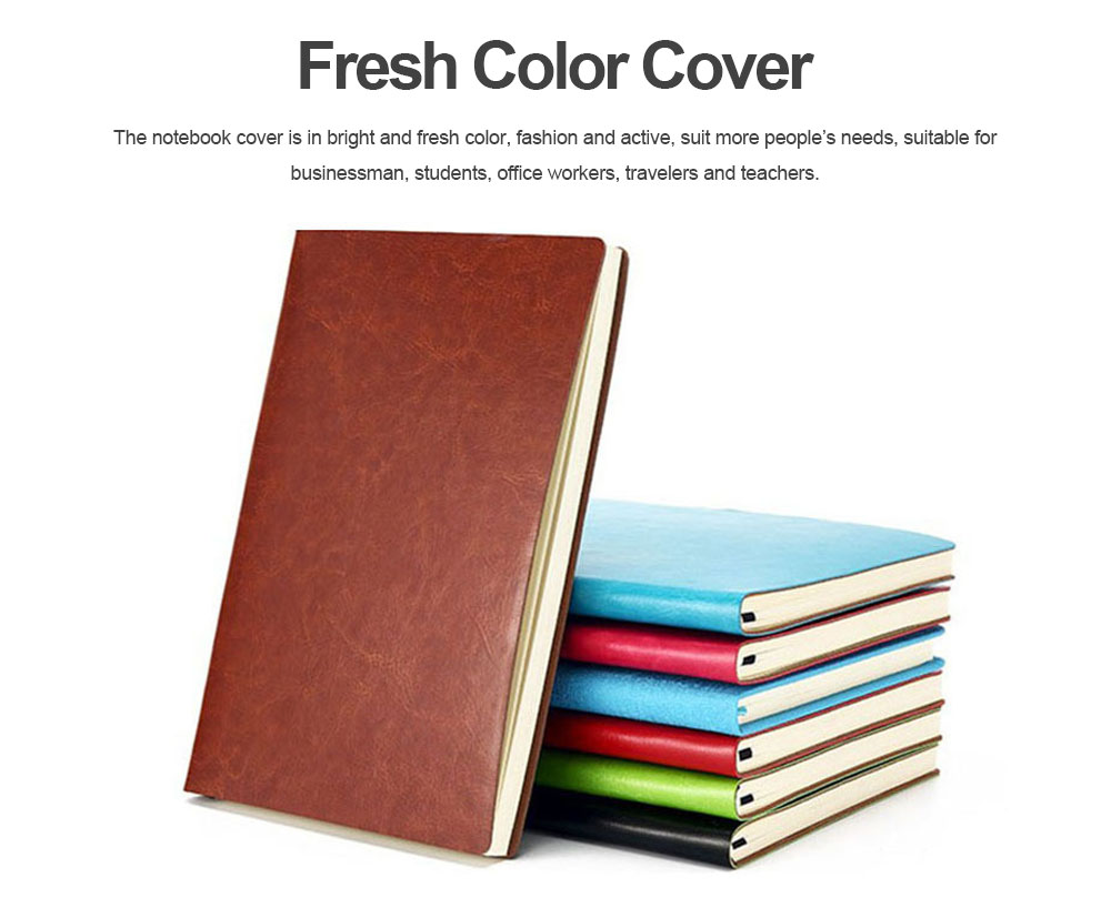 Classical PU Leather A5 Notebook Journal Diary, Uncoated Woodfree Paper Schedule Planner Memo Organizer 200 Pages 3