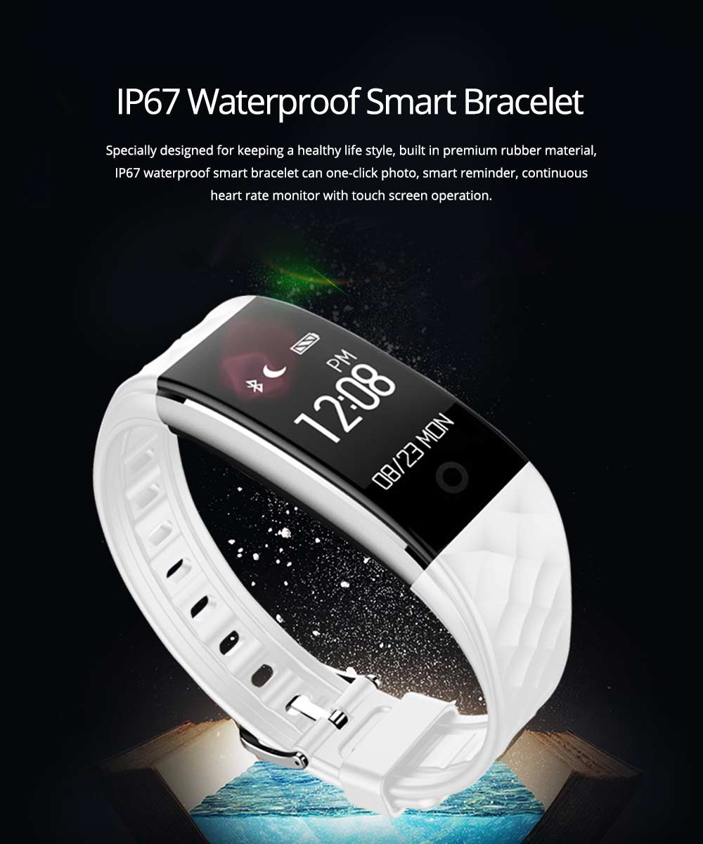IP67 Waterproof Smart Bracelet with One-click Photo for Continuous Heart Rate Monitoring and Call Reminder 0
