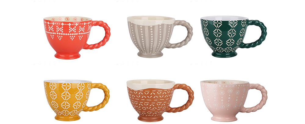 Ceramic Cup Breakfast Round Big Opening Mugs for Home Tea Milk Glazed white Porcelain Mug 8