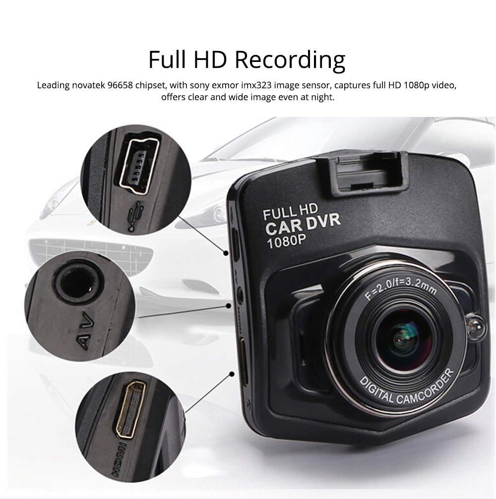 Wireless Car DVR Dash Cam with GPS and Night Vision Function, Full HD 1080P 1