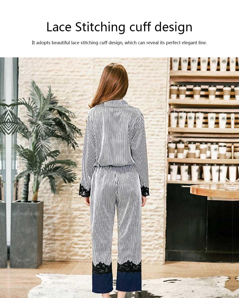 Soft Breathable Striped Stitching Pajamas, Female Imitation Silk Fabric Tracksuit set, Spring Autumn, 2019 5