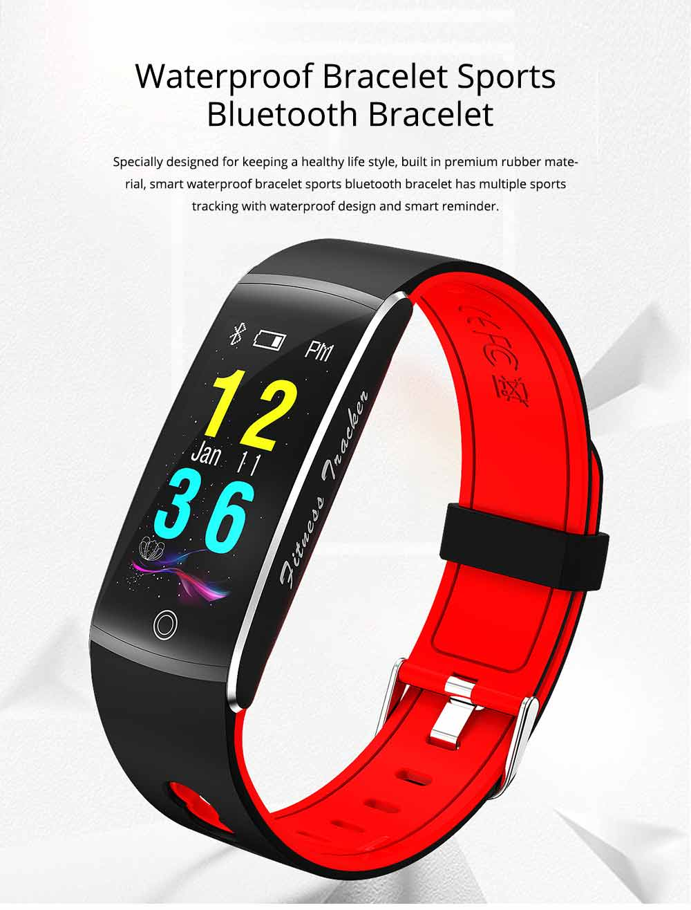 Waterproof Sports Bluetooth Smart Bracelet with Silicone Ultra-soft Watchband for Call Reminder and Rate Monitoring 0