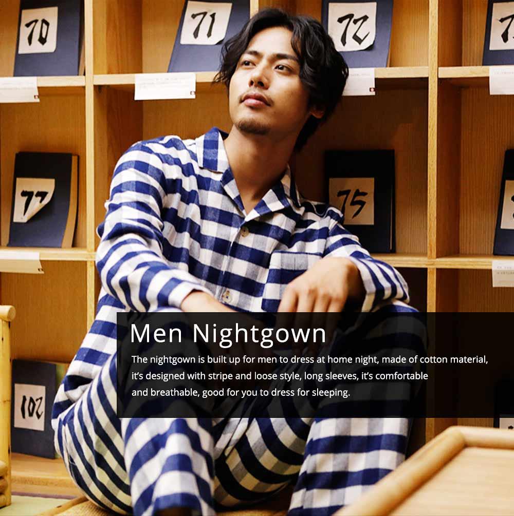 Stripe Nightgown Comfortable Pajamas Set for Men Long Sleeves Cotton Sleepwear Autumn Winter 0