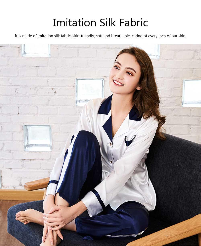 Classic Lapel Women's Long Sleeve Pajama 2 PCS Set, Imitation Silk Fabric Contrast Splicing Tracksuit 9