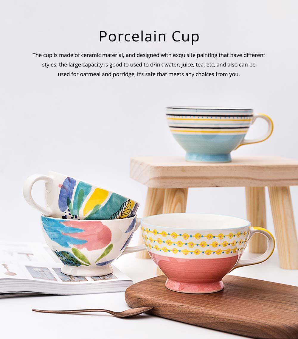 Ceramic Breakfast Mug, Large Capacity Porcelain cup for Water Juice Tea Food 10