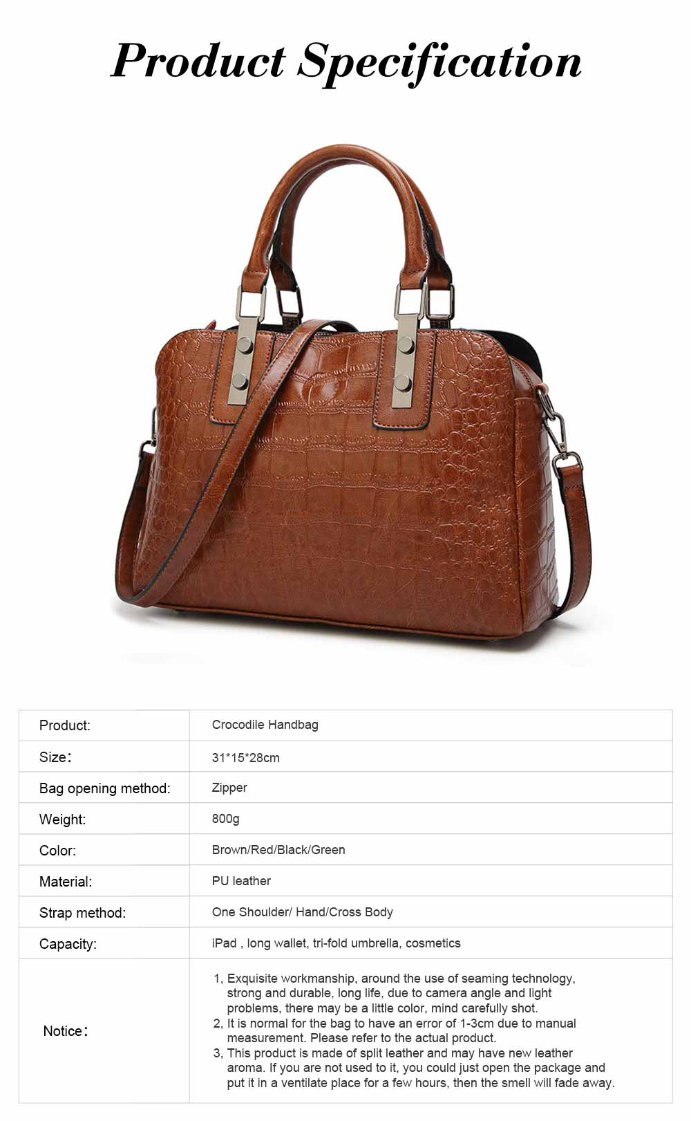 Women's PU Leather Crocodile Handbag With Magnetic Suction Button, Fashion Simple Tote With Large Capacity 15