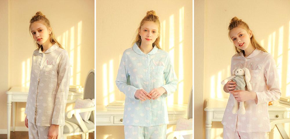 Sleepwear Fashionable Pajamas Set for Girl, Women Soft Long Sleeves Cotton Nightgown 8