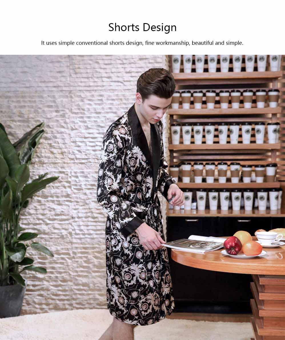 Men's Classic Lapel Shorts and Long Sleeve Pajamas, Thin Imitation Silk Fabric Classic Lapel Printed Robe 5