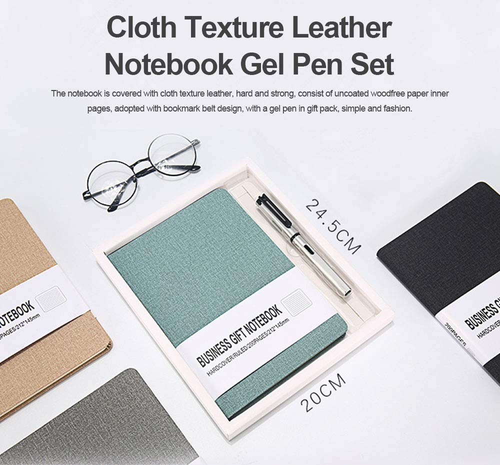 Cloth Texture Leather Notebook Gel Pen Set, Journal Diary Uncoated Woodfree Paper Schedule Planner Jotter Gift Pack 0