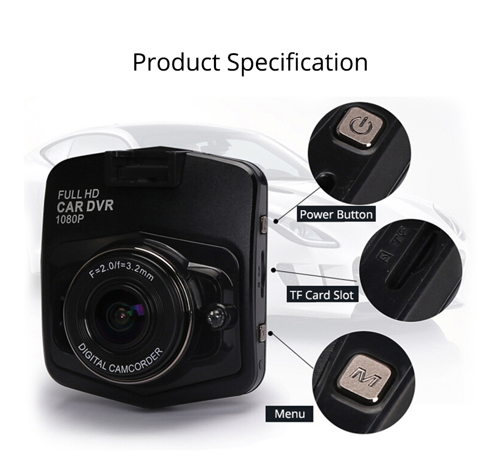 Wireless Car DVR Dash Cam with GPS and Night Vision Function, Full HD 1080P 7