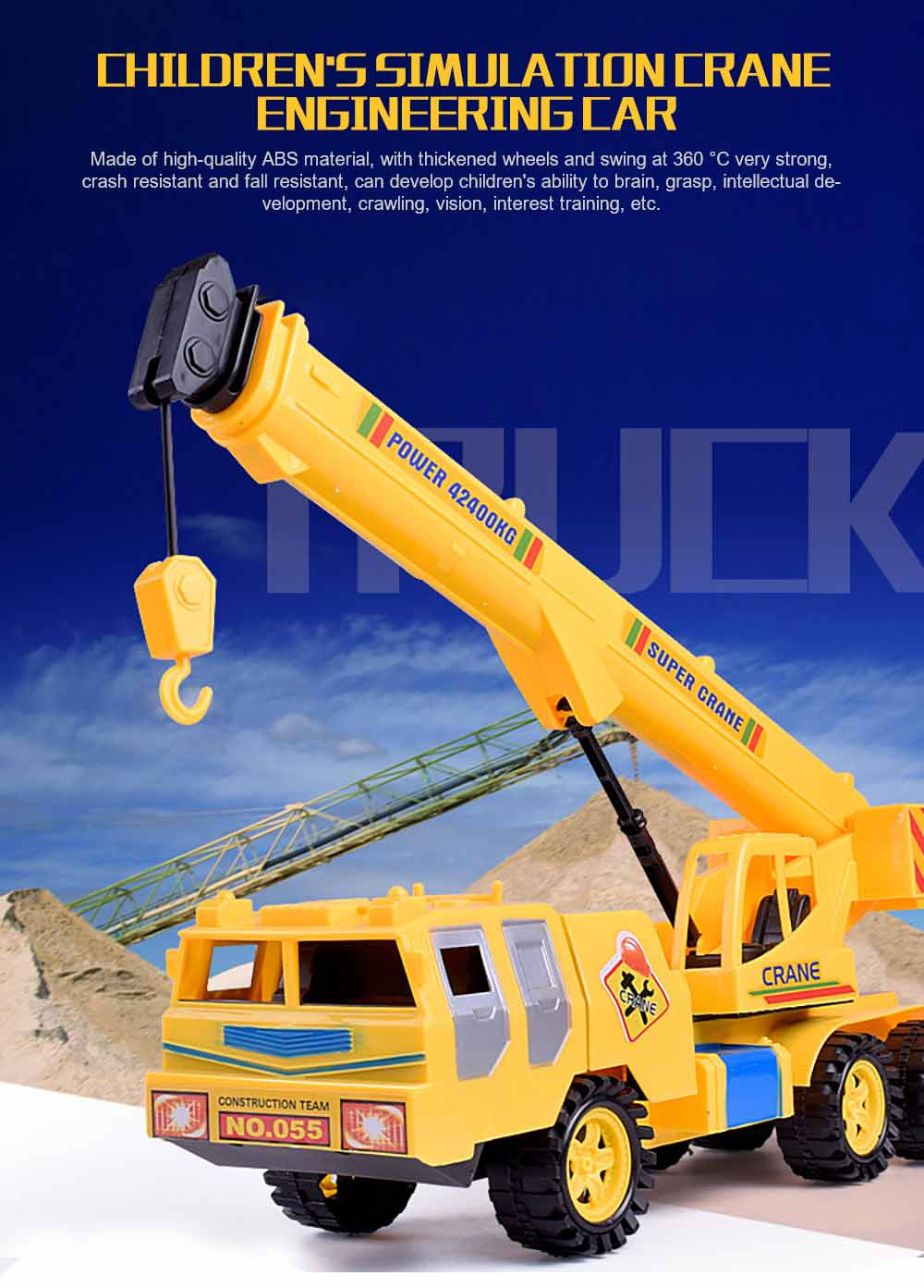 Children's Simulation Crane Engineering Car, Inertial Vehicle Plastic Model Toy Car 0