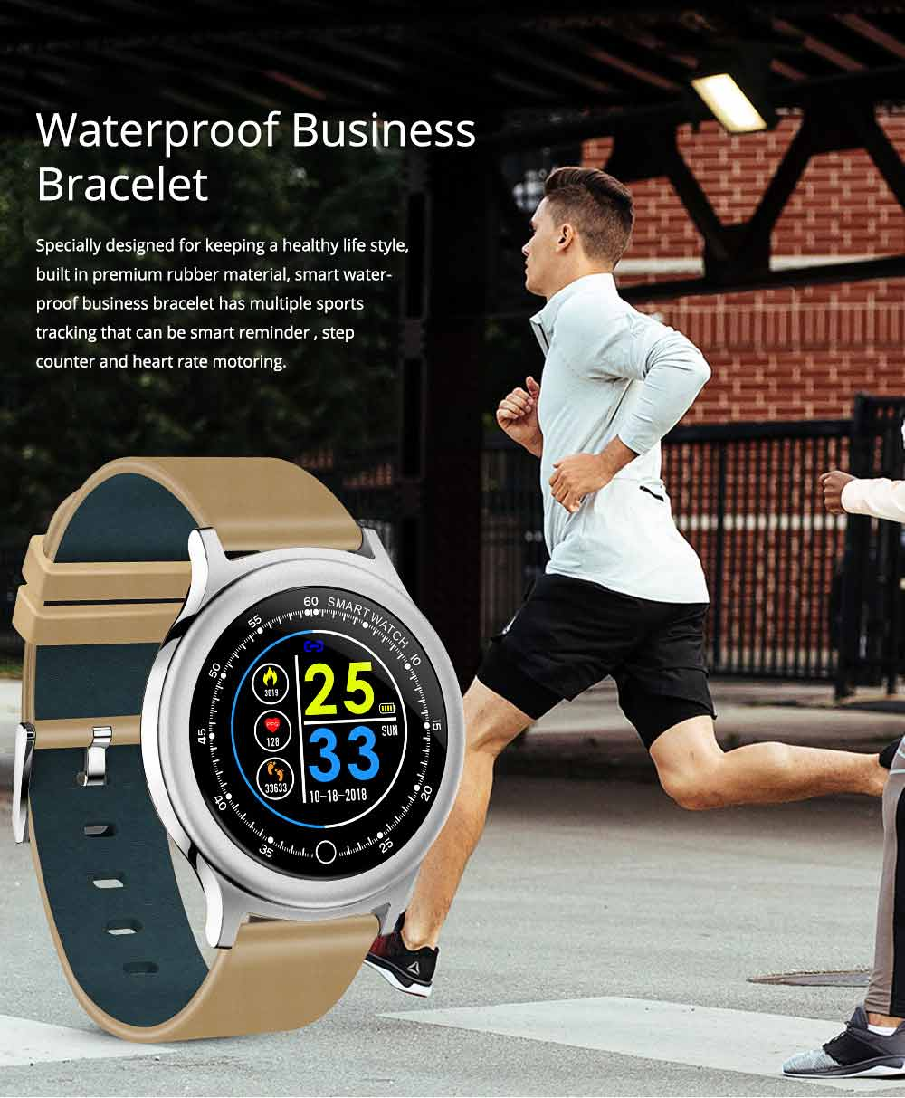 Smart Bracelet with Circle Color Screen for Heart Rate and Sleep Monitoring, Waterproof Business Bracelet 0