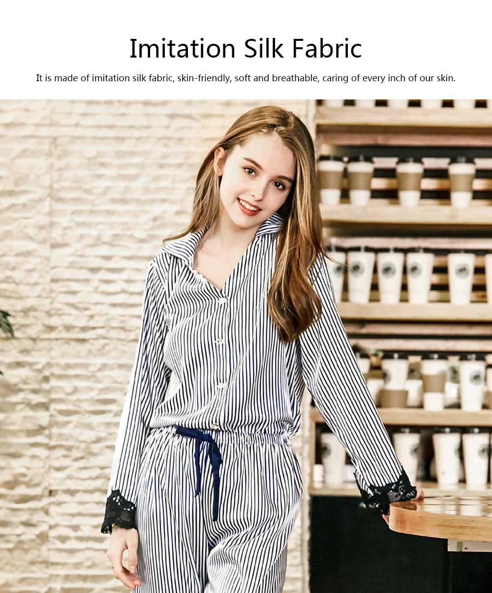 Soft Breathable Striped Stitching Pajamas, Female Imitation Silk Fabric Tracksuit set, Spring Autumn, 2019 2
